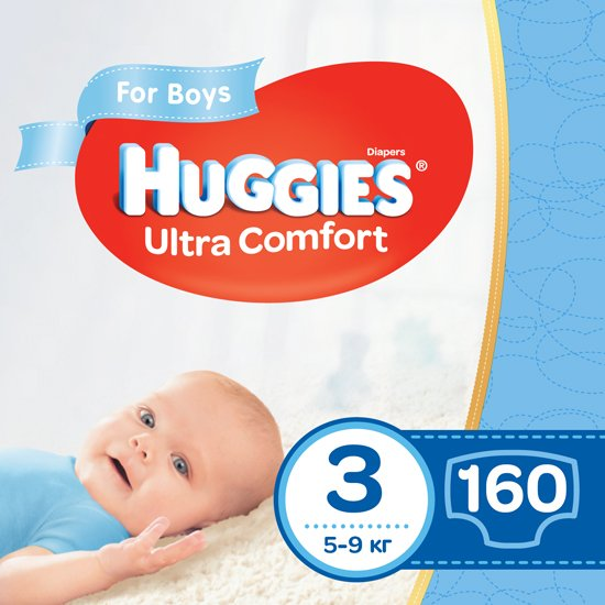 Подгузники Huggies Ultra Comfort 3 Mega для мальчиков 160 шт (80x2) (5029054218099) - изображение 1