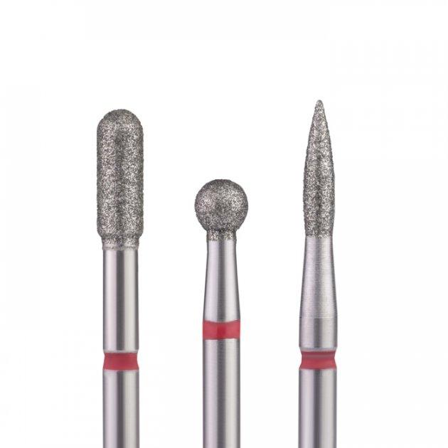 Фрези алмазні Nail Drill набір 3 шт. для тонкої кутикули (червона насічка) - зображення 1