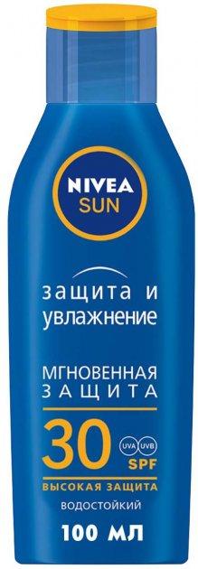 Увлажняющий солнцезащитный лосьон Nivea Защита и увлажнение SPF30 защита от UVA/UVB-лучей и ожогов 100 мл (40059112) - изображение 1