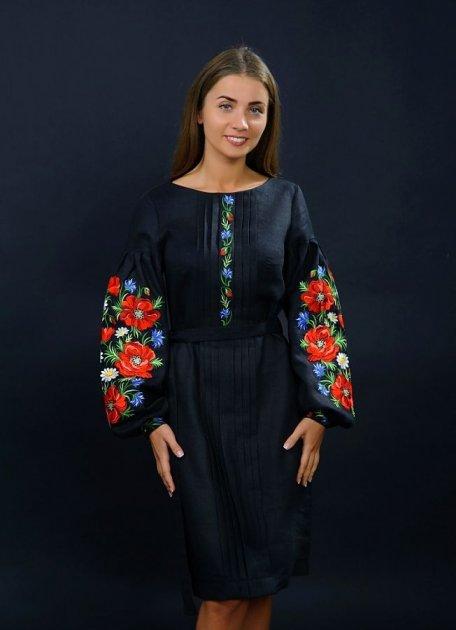 """Дизайнерское платье вышиванка Vyshyvanka """"Маки"""" 56 Черное 4152 - изображение 1"""