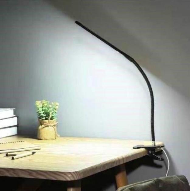 Настільна лампа LAMP 206 на прищіпці USB 24 LED світлодіодна Чорна (12072) - зображення 1