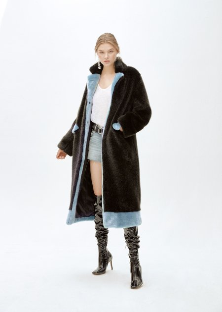 Пальто зі штучного хутра molliolli ANTHRO LUNGO COAT, S, чорне, MW9WCT03X - изображение 1