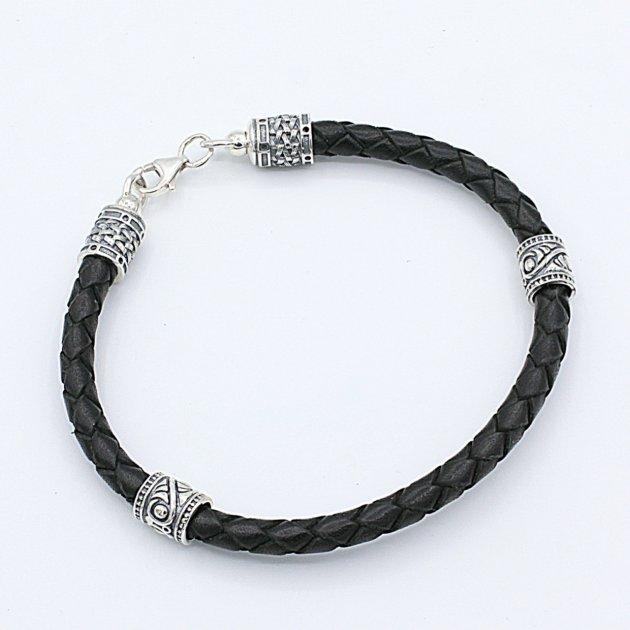 Кожаный браслет с серебряными вставками 17 см - изображение 1