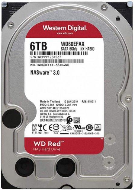 """Жорсткий диск 3.5"""" 6Tb Western Digital Red SATA3 256Mb 5400 rpm (WD60EFAX) - зображення 1"""