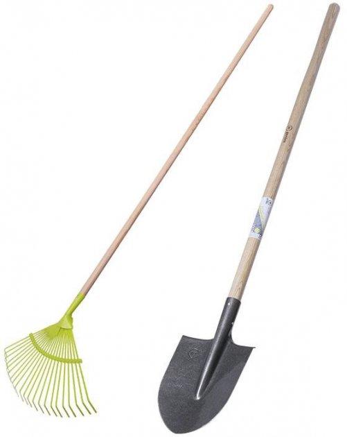 Набор Лопата штыковая + Грабли веерные металлические My Garden 22 плоских зуба (211-4-1460+215-1630) - изображение 1