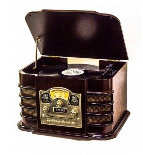 Ретро музичний центр Програвач вінілу Daklin Даллас (AM/FM-стерео, USB/CD MP3, AUX, BT) дерево Шоколадний горіх - зображення 1