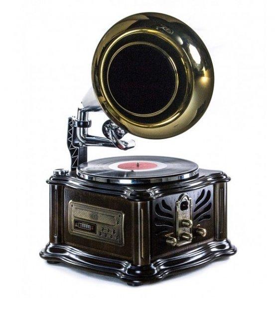 Ретро музичний центр, програвач і радіо Грамофон Daklin Лондон (вініл/USB/FM/CD) Натуральний дуб - зображення 1