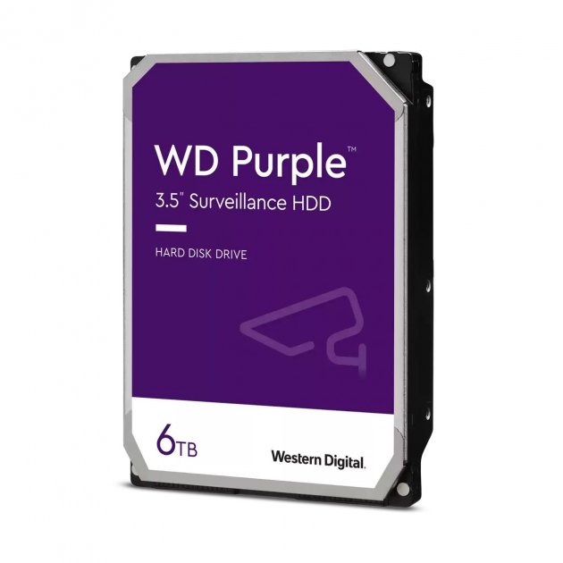 Жорсткий диск Western Digital Purple 6 TB HDD 5640 rpm 128 MB WD62PURZ 3.5 SATA III - зображення 1