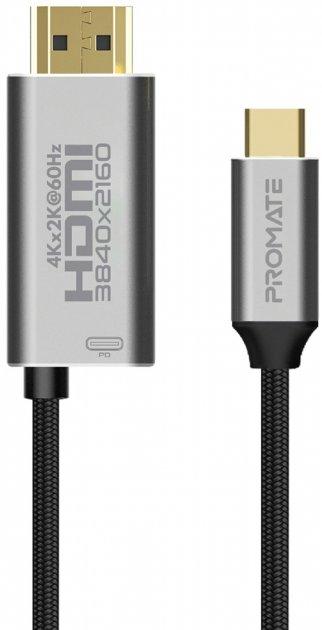 Кабель Promate HDMI-PD60 USB-C/HDMI 4K 60 Hz 1.8 м Grey (hdmi-pd60.grey) - зображення 1