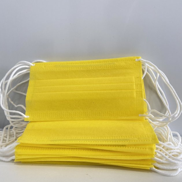 Медицинские маски жёлтые Украина с фильтром и вставкой для носа премиум качества 25 шт/уп. - изображение 1