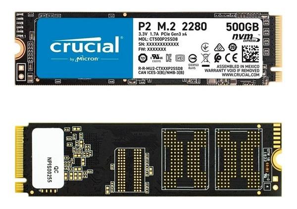 Накопитель SSD 500GB Crucial P2 M.2 2280 PCIe 3.0 x4 TLC (CT500P2SSD8) - изображение 1
