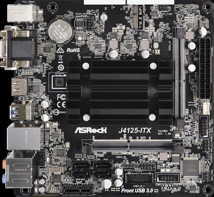 Материнська плата ASRock J4125-ITX (Intel Celeron J4125, SoC, PCI-Ex16) - зображення 1
