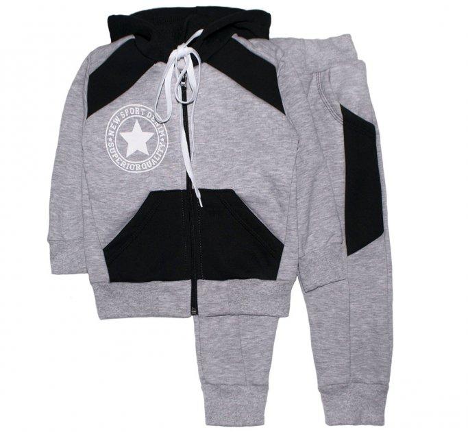 Спортивный костюм Малыш Style Черный КС-10 122-128 см Меланж (ROZ6400027566) - изображение 1