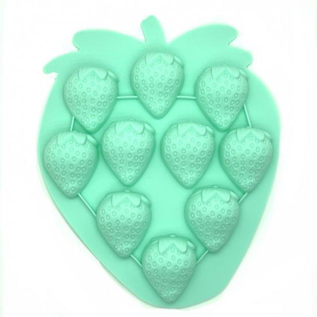 Силиконовая форма для льда и конфет Клубника (зеленый) Stenson (10215 LG) - изображение 1
