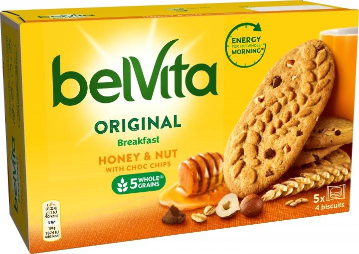 Печиво Belvita Мед і горіх з шоколадними крихтами 225 г (7622210899255) - зображення 1