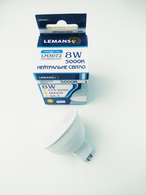 Лампа светодиодная MR16 8W G5.3 5000K 900Lm 175-265В LM3072 Lemanso - зображення 1