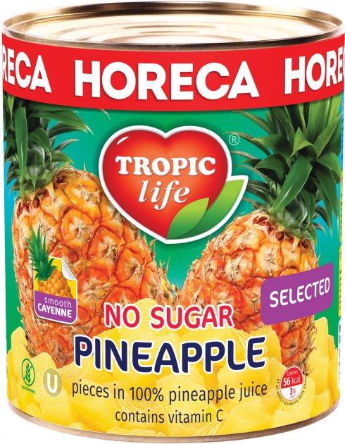 Ананас кусочками в собственном соку Tropic Life без сахара 3100 мл (5060235659249)