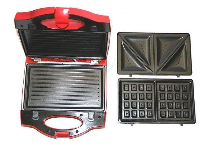 Гриль 3 в 1 бутербродница вафельница Wimpex Wx1056 750 Вт Red (00524) - изображение 1