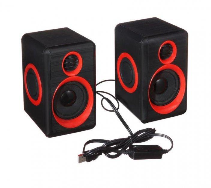 Комп'ютерні колонки, акустика 2.0 USB 6 Вт F&T FT-165 чорні з червоним - зображення 1