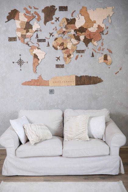 Дерев'яна мапа світу CraftBoxUA 100х60 см багатошарова з гравіюванням країн і їх межі - изображение 1