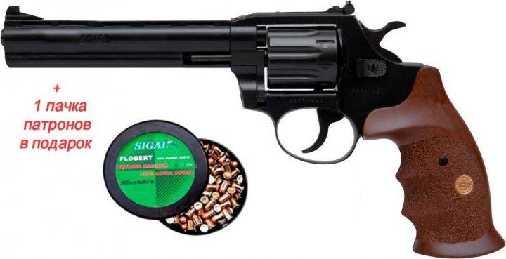 Револьвер флобера Alfa mod.461 ворон/дерево + 1 пачка патронів в подарунок - зображення 1