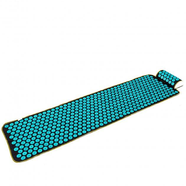 Аплікатор Кузнєцова масажний акупунктурний килимок з подушкою масажер для спини/ніг OSPORT (n-0009) Чорно-бірюзовий - зображення 1