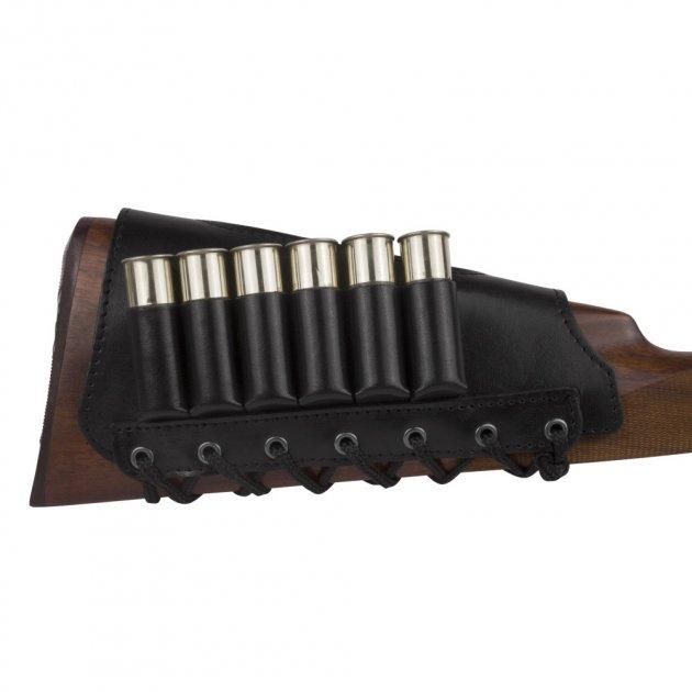 Шкіряний Патронташ на приклад Bronzedog 6 патронів калібр 12/16/20 Чорний (5090/1) - зображення 1