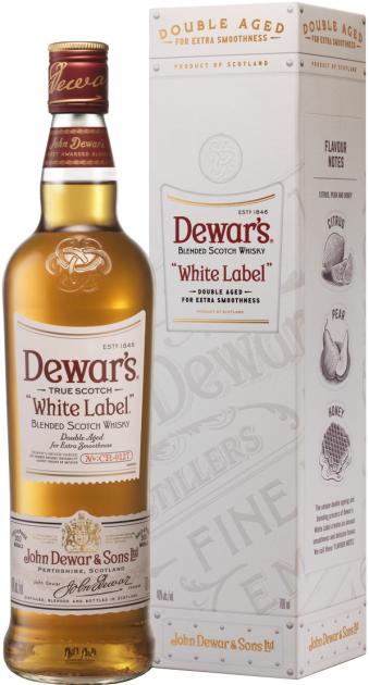 Виски Dewar's White Label от 3 лет выдержки 1 л 40% в подарочной упаковке (5000277001255) - изображение 1