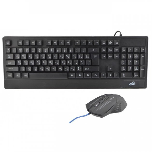 Російська дротова клавіатура + мишка Zeus M710 з підсвічуванням - зображення 1