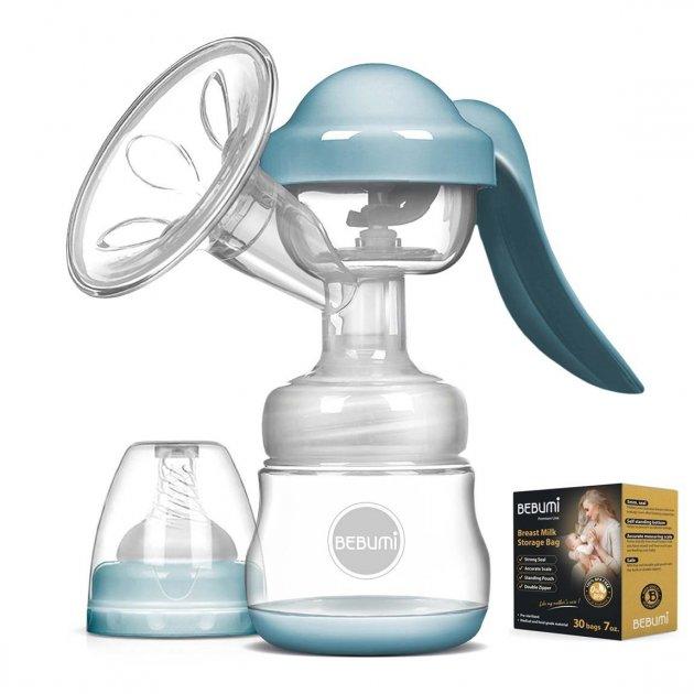 Ручний молоковідсмоктувач Bebumi BM Pro (blue) + силіконова масажна насадка + пакети для зберігання грудного молока Bebumi Pro 30 штук - зображення 1
