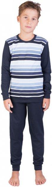 Пижама (футболка с длинными рукавами + штаны) Наталюкс 94-3605 146 см (38) Темно-синяя (9436053249761) - изображение 1