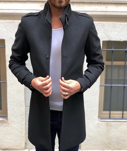 Пальто Chernyy Kot Z241 Темно-серый L - изображение 1