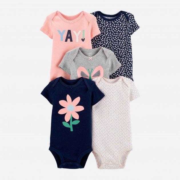 Боди-футболка Carters 18330810 55-61 см 5 шт Розовый/Серый/Белый/Синий (192135961209)