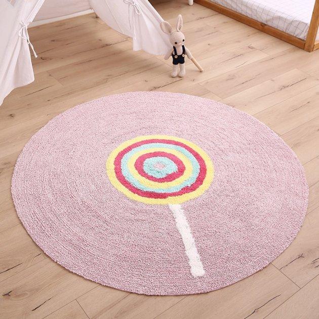 Дитячий килим бавовняний круглий, рожевий Ø 120 см - зображення 1