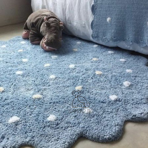 Килим дитячий круглий бавовняний блакитний, діаметр 120 см - зображення 1