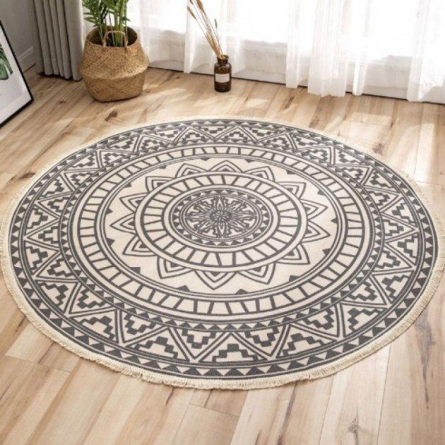 Килим бавовняний круглий в спальню, вітальню, ванну Ø 150 см Етно Скандинавський стиль L0286 - зображення 1