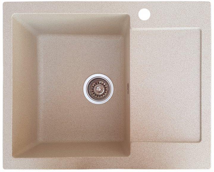 Гранитная кухонная мойка Everest 26R 620х500х215мм Бежевая - изображение 1
