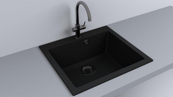 Кухонная мойка Fancy Marble Jersey светло-черная 56 см - изображение 1