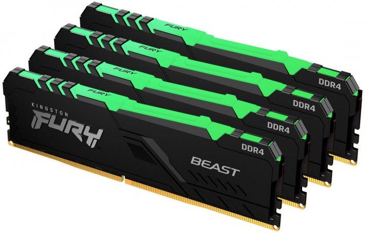 Оперативная память Kingston Fury DDR4-3600 131072MB PC4-28800 (Kit of 4x32768) Beast RGB Black (KF436C18BBAK4/128) - изображение 1