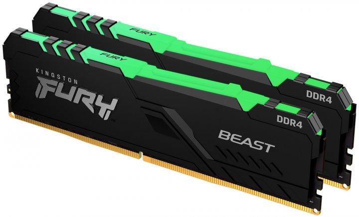 Оперативна пам'ять Kingston Fury DDR4-3733 32768 MB PC4-29864 (Kit of 2x16384) Beast RGB Black (KF437C19BB1AK2/32) - зображення 1