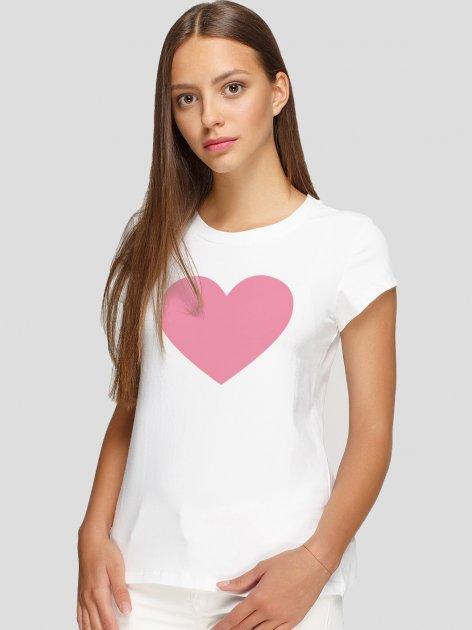 Футболка Manatki Валентин Ідеальне Серце Рожеве д4065 M Біла (2000000167190) - зображення 1