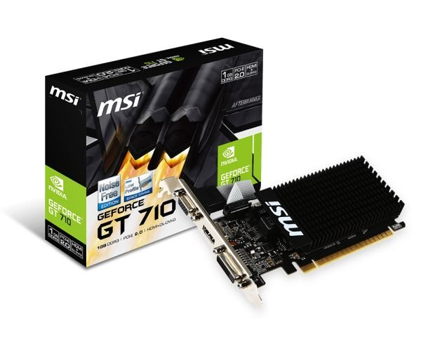 Видеокарта GF GT 710 1GB GDDR3 MSI (GT 710 1GD3H LP) - изображение 1