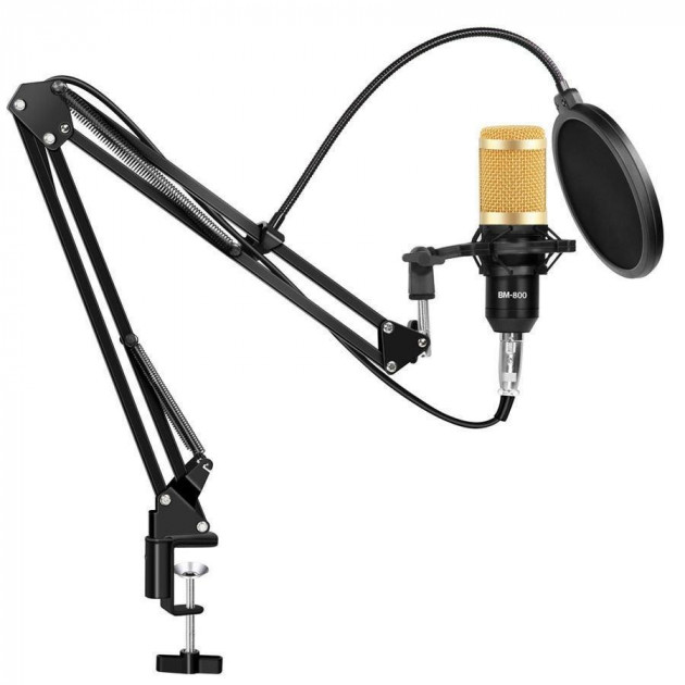Студійний конденсаторний мікрофон Music D. J. M-800 зі стійкою і вітрозахистом Чорно-золотий - зображення 1