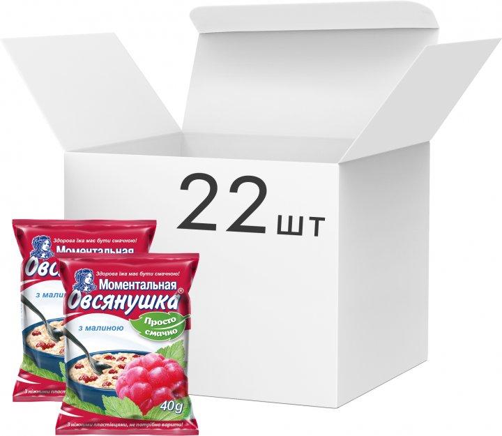 Упаковка каш вівсяних Вівсянушка з малиною 40 г х 22 шт. (4820039840813) - зображення 1
