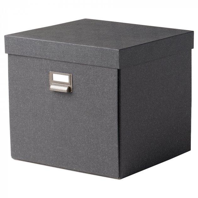 Коробка с крышкой IKEA TJOG 32x31x30 см темно-серый 204.776.71 - зображення 1