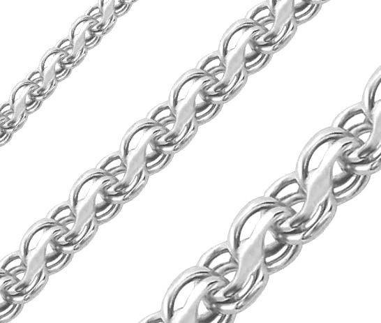 Серебряный мужской браслет ручеёк (Кайзерка) 17см / 4мм белый - изображение 1