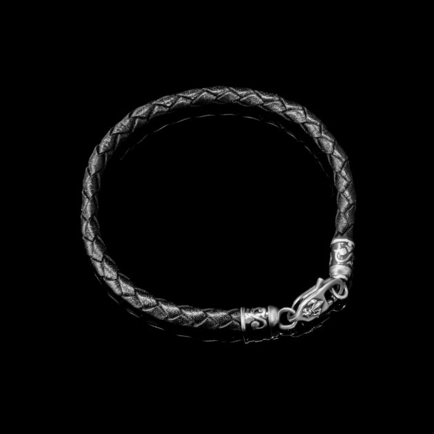 Браслет Lions Heart из кожи и серебра 17 размер (Браслет из кожи 10) - изображение 1