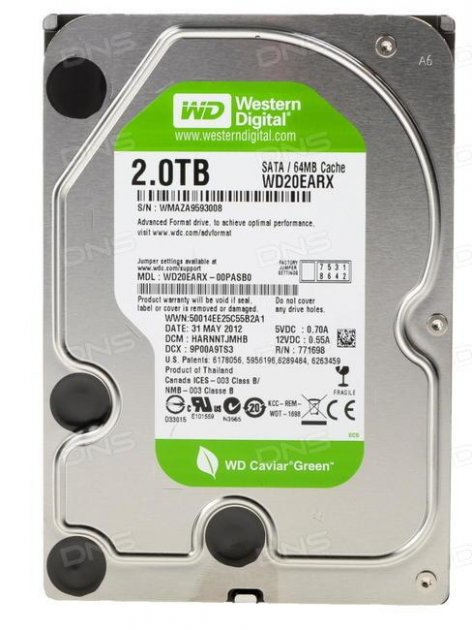 Б\У Жорсткий диск Western Digital Green, 2TB, 5400rpm, Hitachi, 7200rpm, 64МB, WD20EZRX, 3.5, SATA III - зображення 1