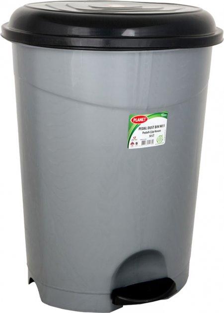 Ведро для мусора с педалью и крышкой Planet №5 50 л Металлик (6838kmd) - изображение 1