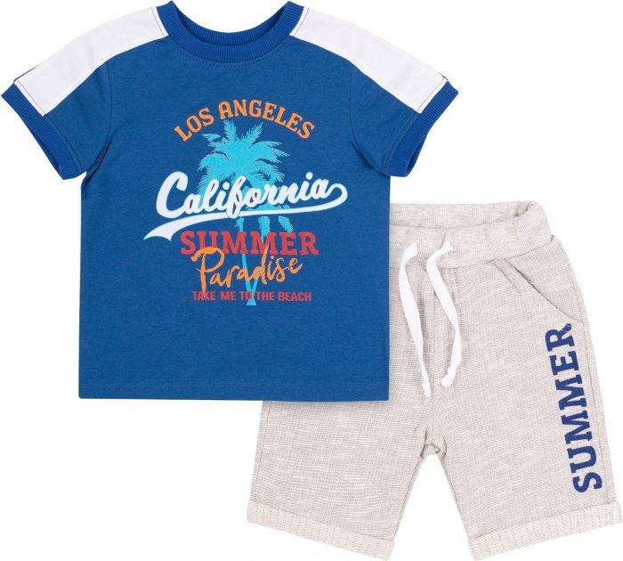 Костюм (футболка + шорты) Бемби КС615 140 см Синий с серым (06615012245.8X0) - изображение 1